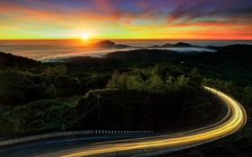 Картинка Thailand, road, mountain, fog, sunrise, Doi Inthanon National park