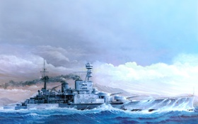 Обои HMS Repulse 1941, арт, рисунок