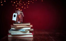 Обои баночка, желтые, банка, книги, огни, боке