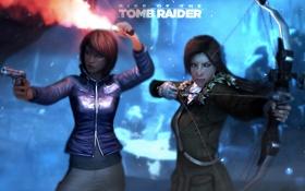 Обои пистолет, игра, лук, стрелы, lara croft, tomb raider, Samantha Nishimura