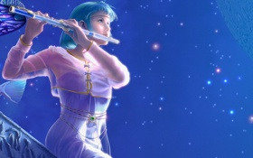 Картинка Yutaka Kagaya, звезды, небо, флейта, девушка, музыкальный инструмент, kagaya