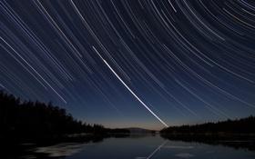 Обои небо, ночь, звёзды, звёздные треки