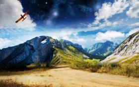 Обои дорога, небо, звезды, облака, самолет, скалы, Горы
