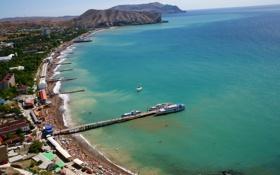 Обои пейзаж, город, океан, Пляж в Судаке