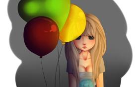Обои воздушные шары, арт, девушка, смайлик, шарики