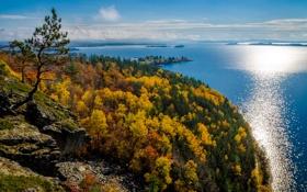 Картинка облака, осень, деревья, лес, остров, небо, озеро