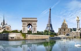 Картинка Париж, Paris, France, памятники, Notre Dame de Paris, Eiffel Tower, Montmartre