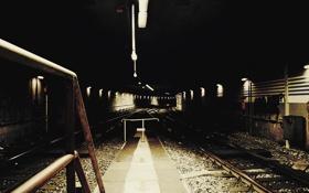 Обои станция, фонари, железная дорога, заброшенная