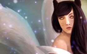 Обои девушка, лицо, арт, уши, искорки, League of Legends, хвосты