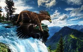Картинка небо, горы, природа, водопад, крылья, клюв, арт
