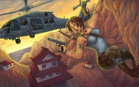 Обои девушка, скала, пистолет, арт, вертолет, Lara Croft, Tomb raider