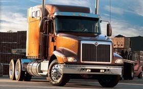Обои небо, склад, грузовик, коричневый, передок, truck, international