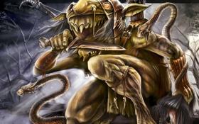 Обои змеи, нож, лучник, обезумел