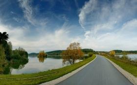 Картинка пейзаж, река, небо, лес, осень, деревья, дорога
