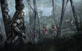 Обои лес, ночь, дождь, солдаты, Кредо Убийцы 3, Assassin's Creed III, Коннор Кенуэй