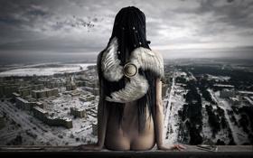 Обои спина, вид, птицы, плеер, город, панорама, АнгелОк