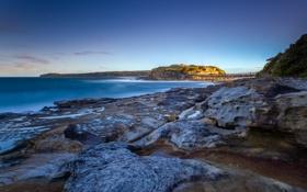 Обои море, небо, мост, скалы, остров, Австралия, Новый Южный Уэльс