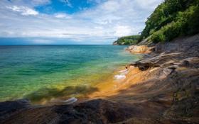 Обои море, берег, растительность, горизонт, США, скалистый, Michigan