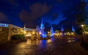Картинка ночь, замок, Magic Kingdom, Castle Walls