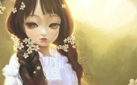 Обои art, милая, волосы, цветы, взгляд, девочка