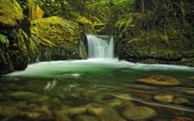 Обои камни, река, вода, водопад