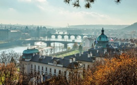 Картинка город, река, вид, здания, Прага, Чехия, панорама