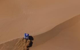 Обои Touareg, Вид с верху, внедорожник, Dakar, Rally, Синий, песок