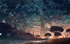 Обои небо, девушка, облака, деревья, закат, природа, река