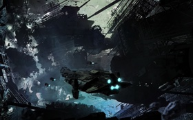 Картинка космос, станция, разрушение, арт, обломки, корабль, молнии