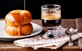Обои пончики, крем, кофе, good morning