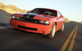 Обои дорога, горы, скорость, dodge, challenger, модель 2008