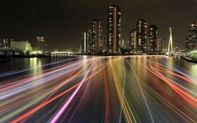 Обои Tokyo, light trails, Sumida River