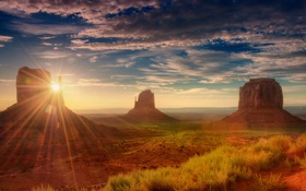 Обои солнце, скалы, пустыня, Юта, Америка, долина монументов