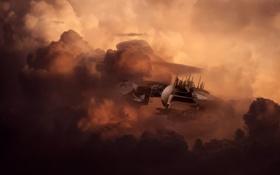 Картинка небо, самолет, корабль, стадион, Jupiter Station