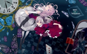 Картинка карты, часы, алиса в стране чудес, alice in wonderland, разбитое зеркало, аниме-девушка