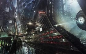 Обои ночь, город, будущее, фантастика, транспорт, небоскребы, art