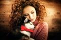 Картинка девушка, собачка, Serg Piltnik