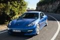Картинка дорога, синий, поворот, порше, Porsche Panamera S Hybrid 2011