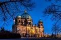 Картинка деревья, ночь, ветки, город, вечер, Германия, церковь