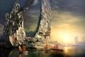 Картинка город, корабли, Guild Wars 2, гавань