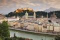 Картинка Зальцбург, Franziskanerkirche, река, Hohensalzburg castle, здания, Austria, Австрия