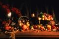 Картинка осень, яблоки, свечи, октябрь, урожай, тыква, фрукты