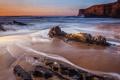 Картинка море, волны, камни, скалы, рассвет