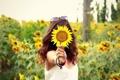 Картинка поле, девушка, цветы, фон, обои, настроения, волосы