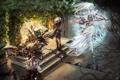 Картинка девушка, магия, эльф, воин, лук, арт, битва