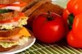 Картинка хлеб, перец, бутерброд, помидор, салат, ветчина