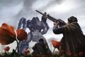 Картинка поле, цветы, металл, оружие, люди, маки, робот