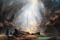 Картинка река, скалы, человек, арт, нарисованный пейзаж