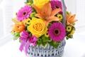 Картинка день рождения, корзина, лилии, букет, Розы, герберы