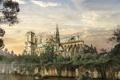 Картинка деревья, здание, растение, болото, арт, The Last of Us